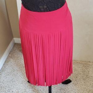 NWT high waisted red fringe skirt Lane Bryant